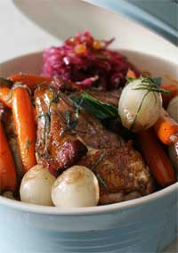 Pheasant roasted with  Smoked Bacon and Sage, with Red Cabbage Salad