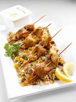 Chicken Skewers with dried fruit cous cous