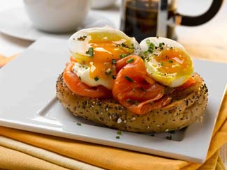 Soft Boiled Organic Eggs and Organic Smoked Salmon Bagels