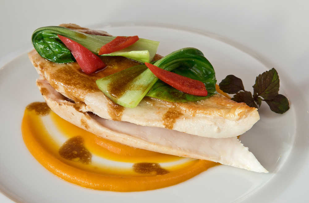 The Friendly Farmer Pasture-Reared Chicken with Lemon Viennoise and Sweet Potato Purée