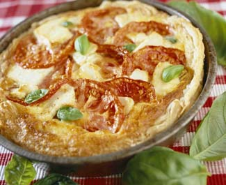 Abbey Feta Cheese Quiche with Tomato, Basil and Aubergine