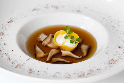 Ballyhoura Mountain Mushroom consommé with Coolea cheese tortellini
