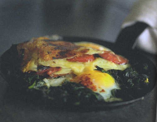 Gubbeen Cheese & Chorizo Potato Cake with Wilted Chard