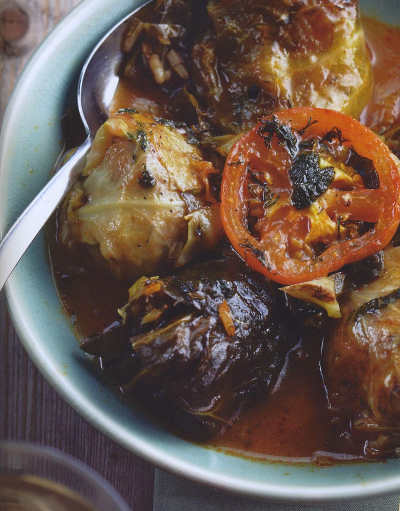 Stuffed Cabbage Leaves in a Tomato and Basil Sauce