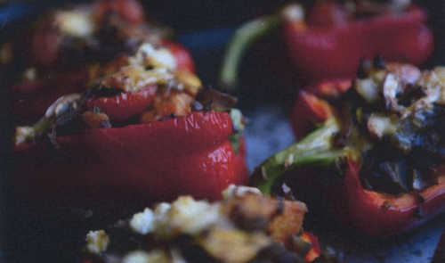 Stuffed Peppers With Sweet Potato And Chestnuts