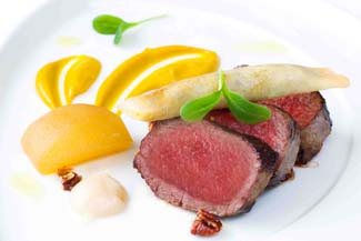 Coopershill House Irish Venison loin with pumpkin puree and a black pudding filo cigar
