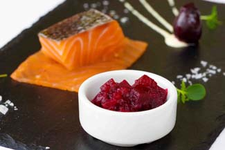 Whiskey cured smoked salmon with Janet's Country Fayre Beetroot Blush and citrus mayonnaise