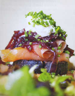 Achill Island organic smoked salmon with Kelly's black pudding, red onion marmalade and creme fraiche, with warm boxty