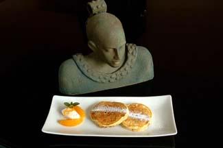 Orange and Raisin Pancakes with Crème Fraiche and Orange and Cardamom Salad