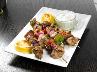 Greek style Organic Lamb Kebabs with Yoghurt Dressing
