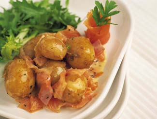 Salad of New Potatoes and Smoked Salmon with a Dill & Mustard Dressing