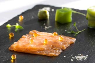 Nicky's Plaice smoked salmon with crab salad & cucumber