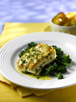 Pan-fried Hake with Lemon and Herb Butter Sauce