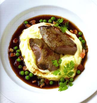 Pigeon with Pommes Mousseline and Pancetta Peas