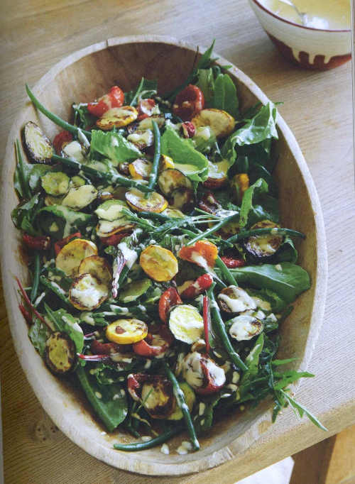 Tahini Dressed Courgette and French Bean Salad