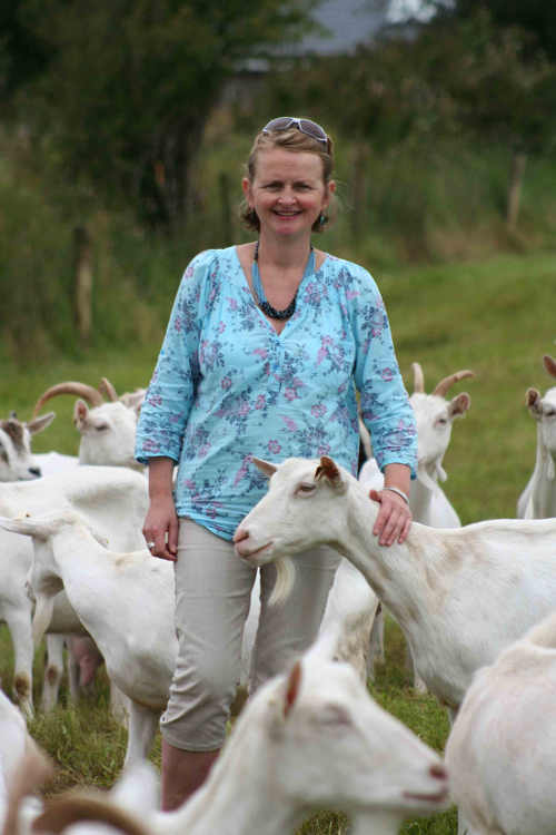 Siobhan Ni Ghairbhith with goats
