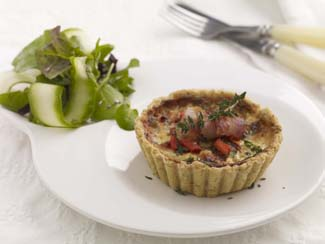Sundried Tomato, Roasted Red Pepper and Chive Tartlets with Oatmeal Pastry