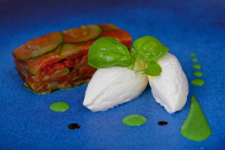 Toons Bridge Buffalo Mozzarella Bavarois, Pressed Ratatouille, Basil Aioli