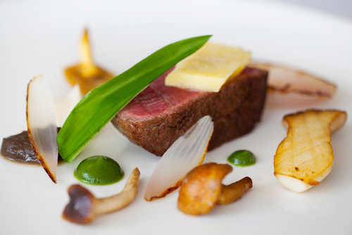 Dry-aged beef, Ballyhoura Mountain Mushrooms, Coolea cheese, parsley purée, wild garlic