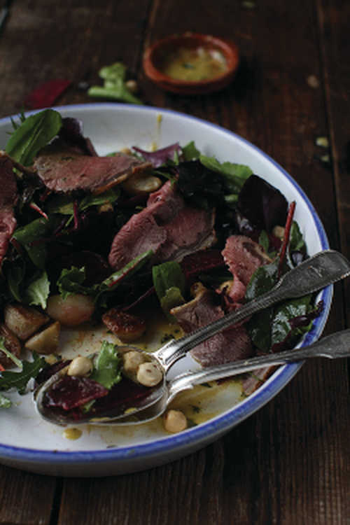 Beetroot, Jerusalem Artichoke and Skirt Steak Salad with Toasted Hazelnuts and Mixed Leaves, Tarragon Dressing