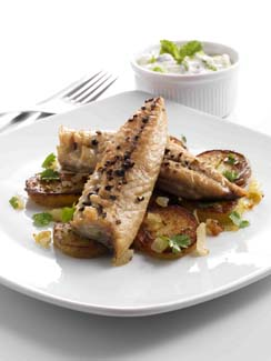 Grilled Mackerel Fillets with Indian Spiced Potatoes and Raita