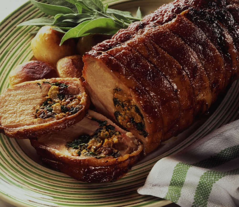 Roast Loin of Pork with Apple & Spinach Stuffing