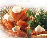 Smoked Salmon on Potato Cakes with Soured Cream