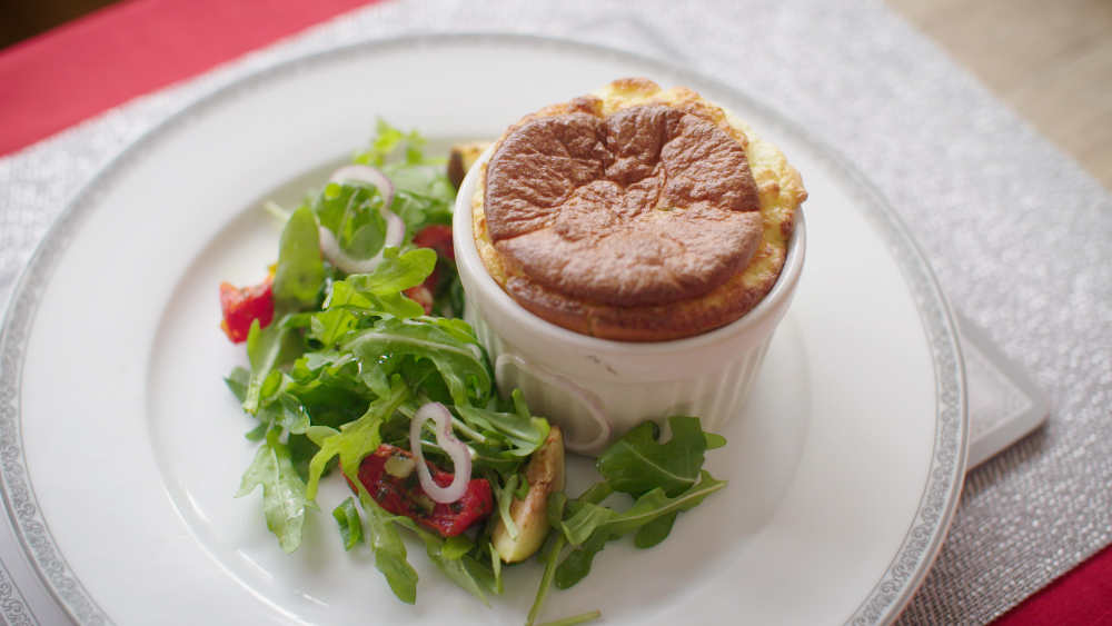 Cheddar Cheese and Courgette Soufflés