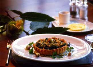 Spinach and roast chestnut tartlet