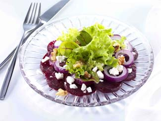 Beetroot, Red Onion and Feta Salad with Walnuts