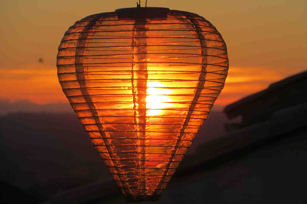 Sunset through a Christmas Lantern