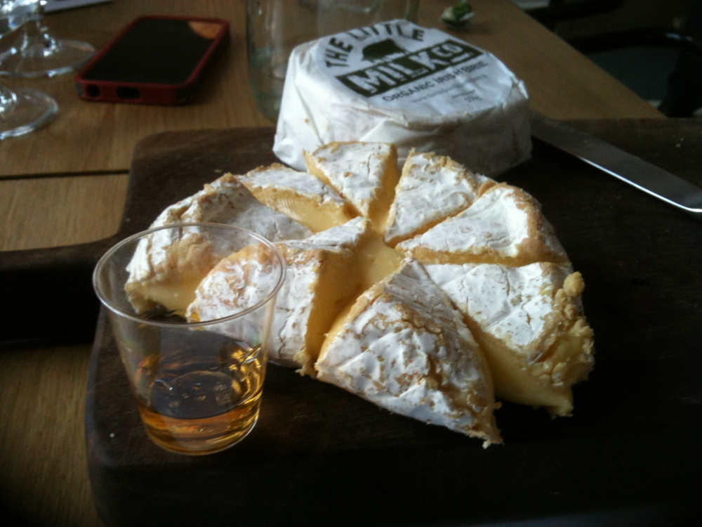 A ripe organic brie from The Little Milk Company, paired with Teelings whiskey