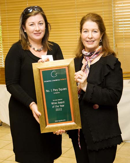 Wine Award of the Year 2012 - No. 1 Pery Square Hotel & Spa - Limerick Ireland