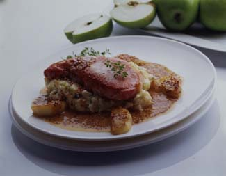Bacon Chops with Apple & Cider Sauce