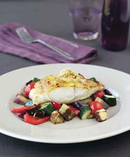Baked Cod on Ratatouille with Curry Butter