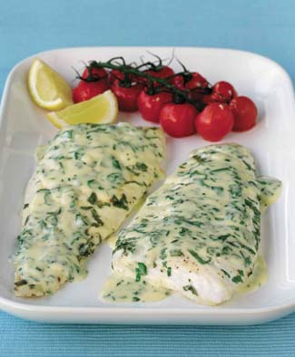 Turbot or Brill in Tarragon and Soured Cream Sauce