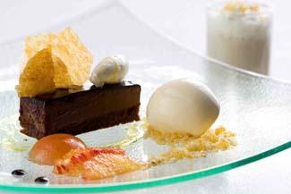 Chocolate pave with Moonshine organic ice cream and Moonshine organic milkshake