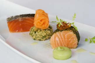 Trio of Clare Island Organic Salmon with Avocado Cream and Caviar