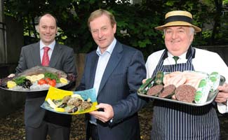 Dermot Madigan, general manager, Mulranny Park Hotel, and Sean Kelly, Kelly's Butcher's, Newport with the Taoiseach Enda Kenny - Gourmet Greenway Mayo Ireland