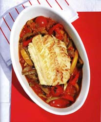 Hake baked in a peperonata sauce by Nick Price
