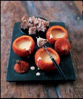 Pumpkin Fondue -from COOKING WITH PUMPKINS AND SQUASH by Brian Glover with photography by Peter Cassidy