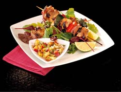 Pork Kebabs with Nectarine and Honey Salsa