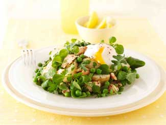 Warm Salad  of New Potato, Pea and Trout with Poached Egg
