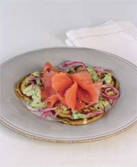 Smoked Salmon on Warm Potato Pancakes with Pickled Red Onion