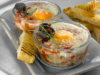 Baked Eggs with Smoked Ham and Mushrooms