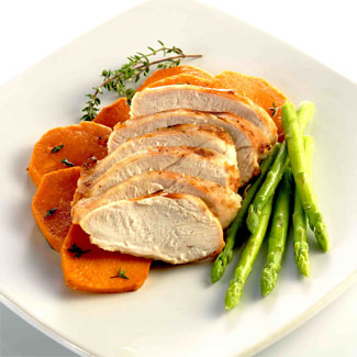 Grilled Supreme of Chicken with Sweet Potato and Asparagus