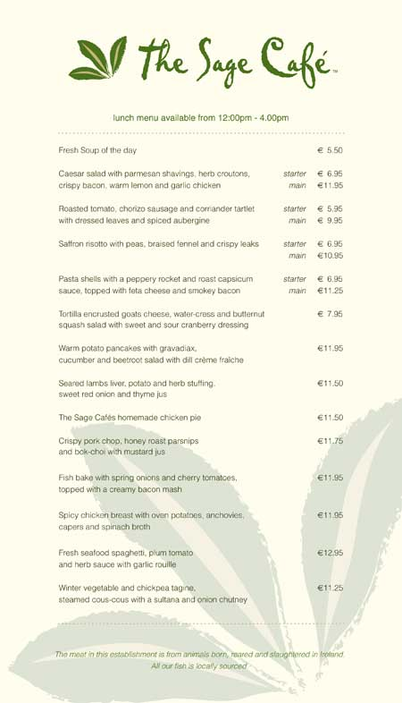 The Sage Cafe - Lunch Menu 1
