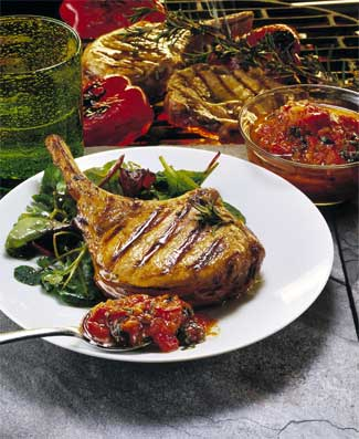 Grilled Pork Chops with Salsa Rossa
