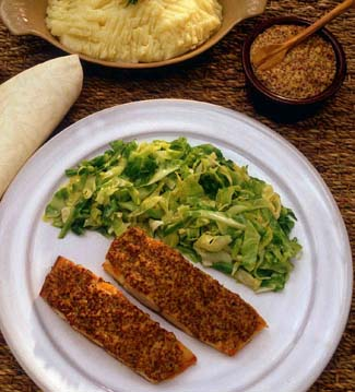 Smoked Fish with Mustard and Cabbage