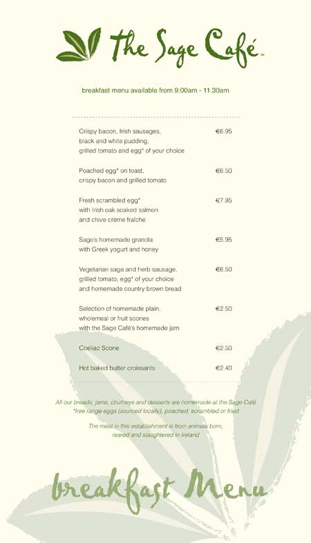 The Sage Cafe - Breakfast Menu 1